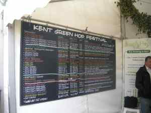 The Kent Green Hop Beer blackboard!