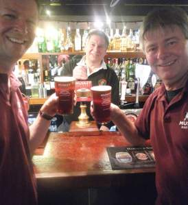 Mark Stroud (right) and Tony Williams (left) flank Jeff Tucker chair of Maidstone & Mid Kent CAMRA at the launch of one of their other beers