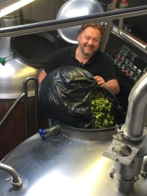 Writer Pete Brown helping out at Westerham Brewery