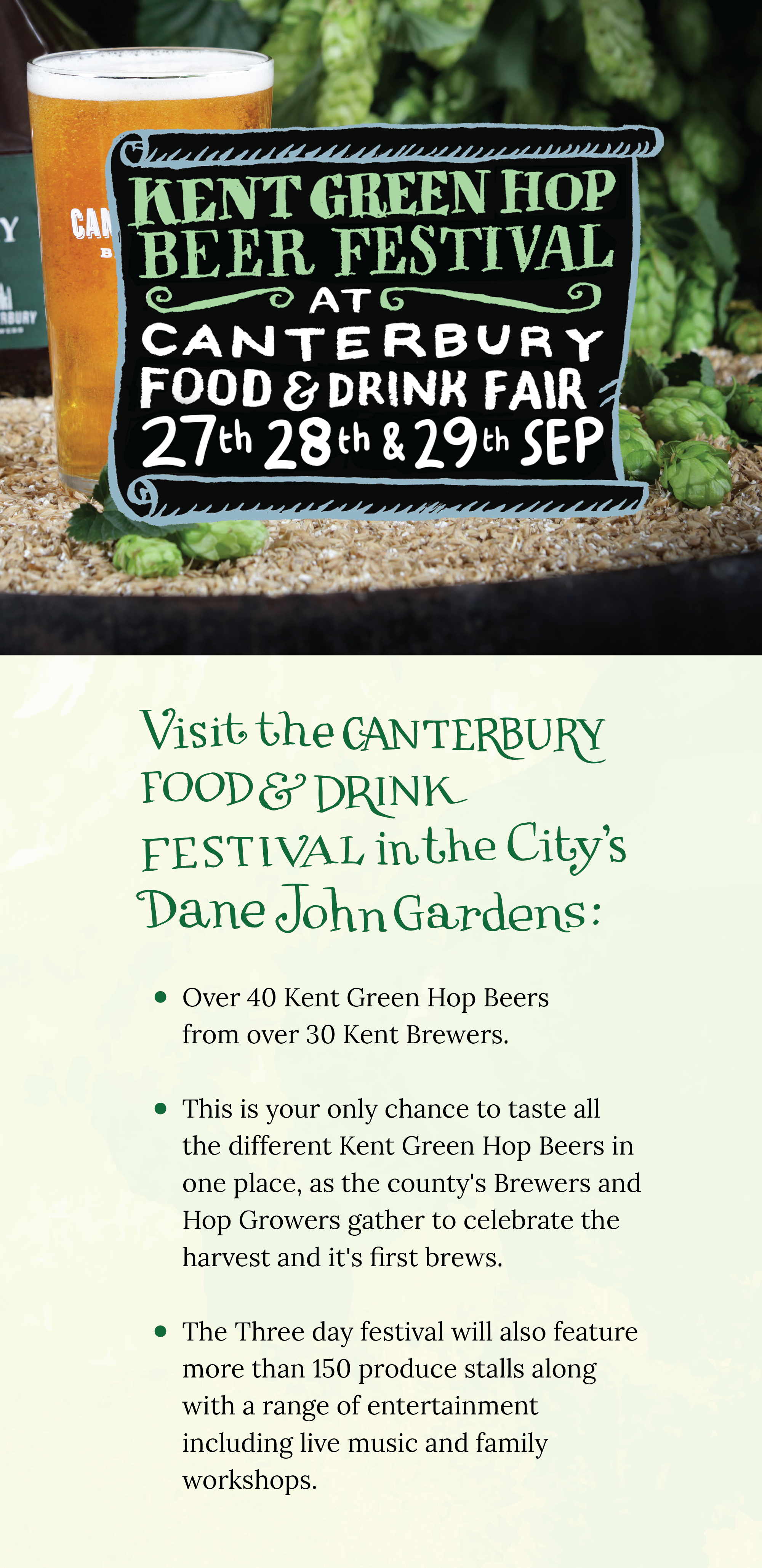 Poster advertising Kent Green Hop Beer Festival at Canterbury Food and Drink Fair. 27th 28th and 29th September. Dane John Gardens.